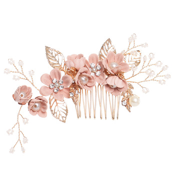 Luxury Blue Pink Flower Hair Combs Headdress Prom Bridal Wedding Crown Hair Accessories