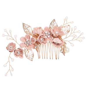 1PC Luxury Blue Pink Flower Hair Combs Headdress Prom Bridal Wedding Crown Hair Accessories Gold Leaves Hair Jewelry Hair Pins(China)