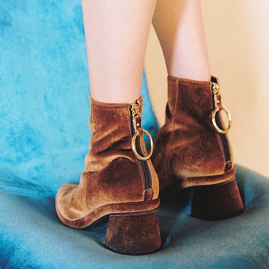 HZXINLIVE Luxury Designer Velvet Women Boots Black Green Brown Metal Ring Zipper Ankle Boots for Women