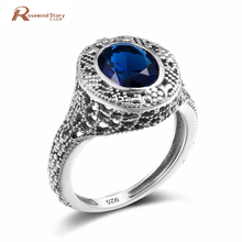 Vintage Turkish Finger Ring For Women Oval Blue Crystal Antique Vintage 925 Sterling Sliver Jewelry font
