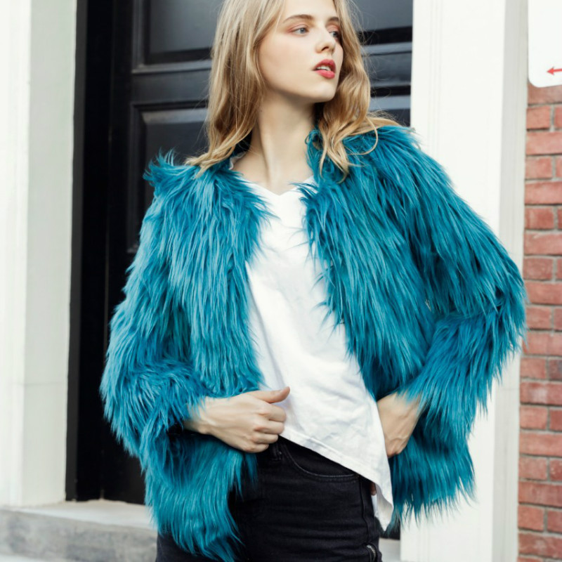 Fluffy Faux Fur Coat Women 2018 Warm Chic Flocking Cardigan Outerwear Long Hair Autumn Winter Hairy Bomber Party Outwear Tops