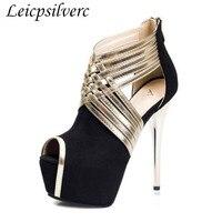 Модная пикантная обувь для ночных клубов на очень высоком тонком каблуке в американском стиле женская обувь на платформе с открытым носком