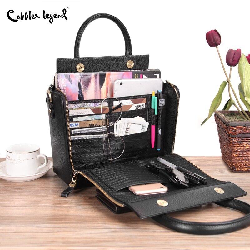 Cobbler Legend Super Organizer Handbag Genuine Leather Black Messenger Bag Designer Top Handle Bags Women Tote