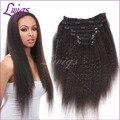 Grau 6A cabelo brasileiro virgem reta kinky extensões do cabelo do grampo, yaki grosso grampo em extensões do cabelo humano frete grátis