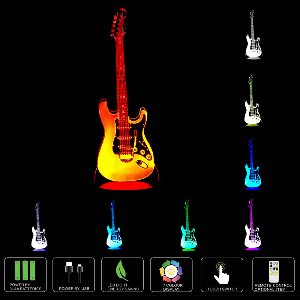 Creative 3D Nightlight electric guitar Model Illusion 3d Lamp LED 7 Color changing USB touch sensor