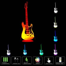Creative 3D Nightlight electric guitar Model Illusion 3d Lamp LED 7 Color changing USB touch sensor desk light Night Light