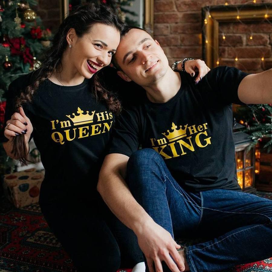 Camisa feminina verão estilo 2019 algodão imprimir sua rainha seu rei coroa harajuku o-pescoço casal t plus size manga curta roupas
