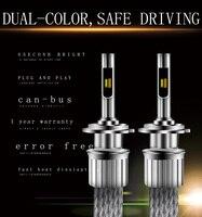 KS H1 H4 H3 H7 H11 9005 12 Pcs of Led Headlight Bulbs Conversion Kits dual color with Copper strip system 45W 5000LM 3000K 6500K