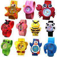 Fashion kids children 3D cartoon cute animal slap sport watches wholesale boys girls candy jelly birthday gift wrist watches