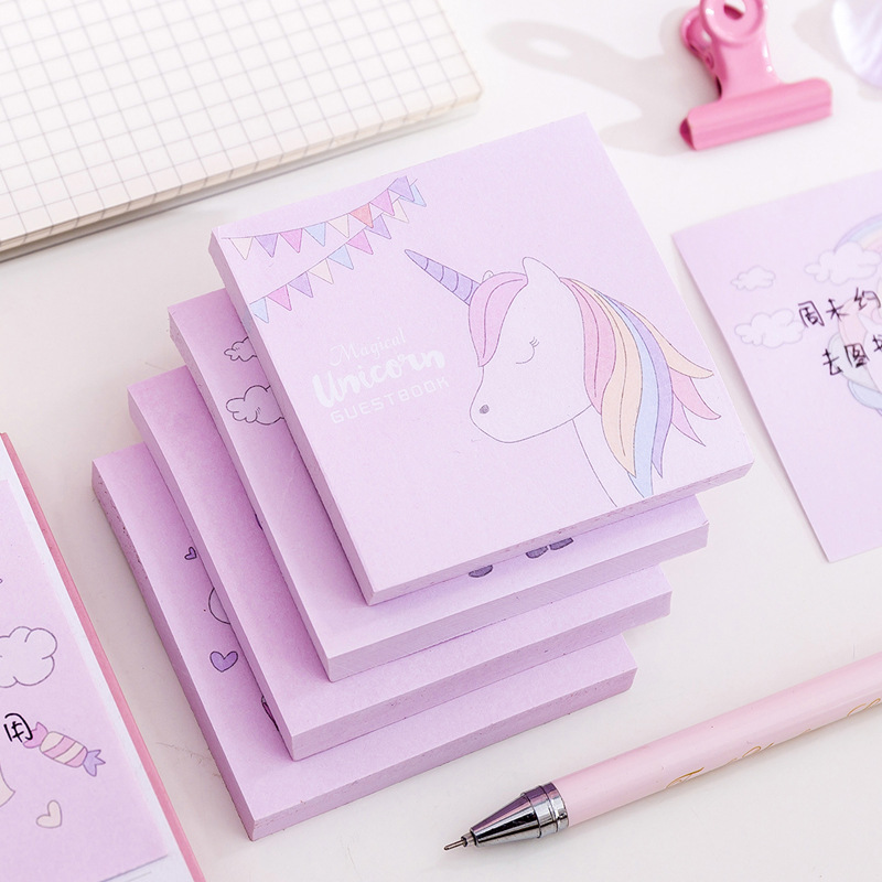 Ins Style Rainbow Unicorn Kawaii Sticky Notes Paper Sticker Notepad Memo Pad Office School Supplies Bullet Journal Stationery