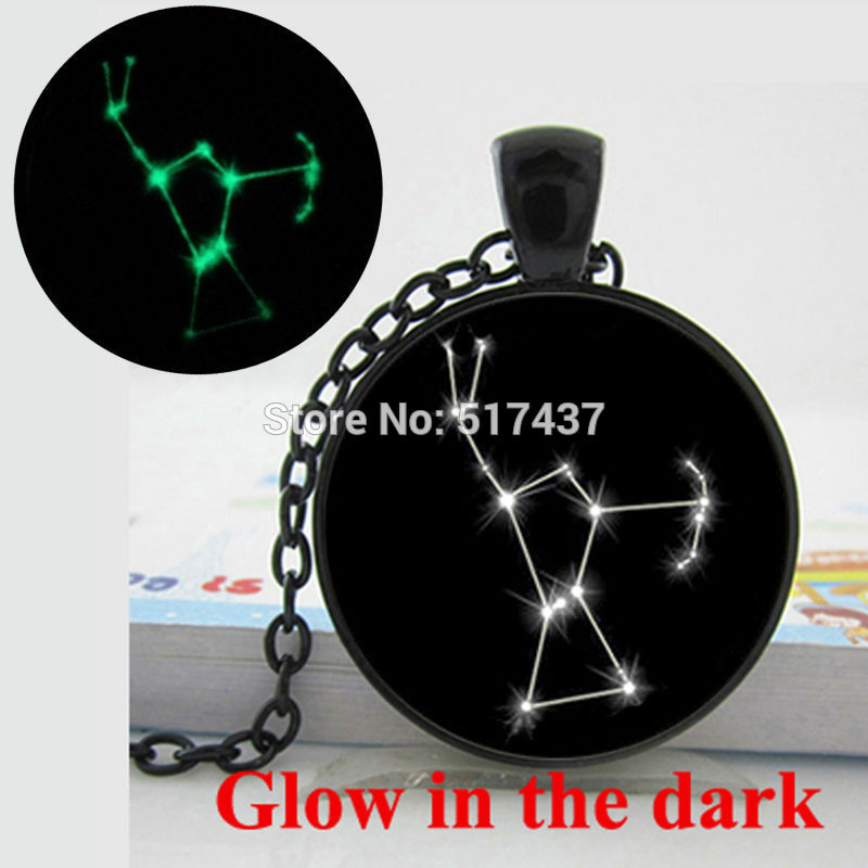 HZShinling Glow In The Dark Necklace Pendants Astrology Necklace Glass Cabochon Glowing Jewelry Orion Zodiac Necklace