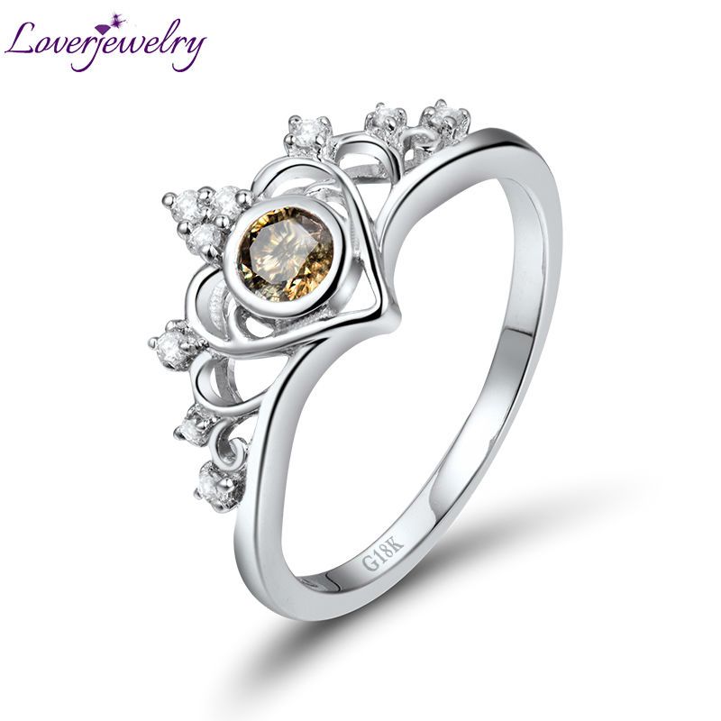 Luxury Royal Crown 3.8mm Round Coffee Diamond Ring In Solid 18Kt White Gold WU307 кольцо royal diamond