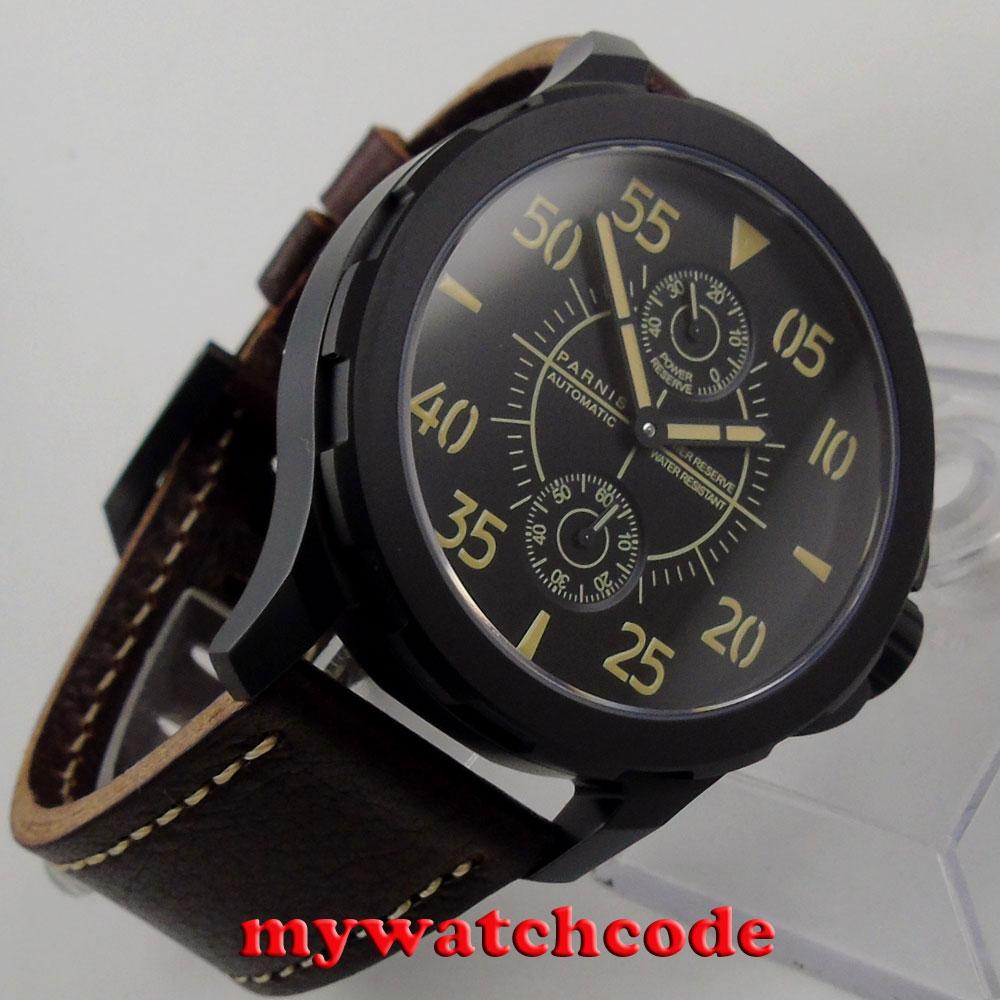 44mm Parnis black dial Sapphire glass PVD ST 2542 Automatic Men's Watch 772 цена и фото
