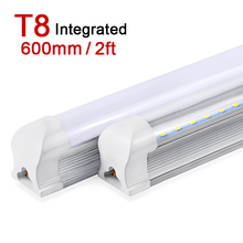 LED Tube T8 600mm 2ft 10W LED Light Integrated Tube LED Lamp 220V 240V SMD2835 Super Bright Wall Lighting Bulb Clear/Milky Cover(China (Mainland))
