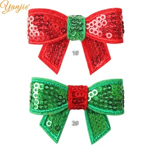 Image 4 - 100pcs/lot 1.8 Mini Sequin Bow Christmas Hairgrips Girls 2019 Christmas DIY Hair Accessories For Headband Kids Hair Bows Clips