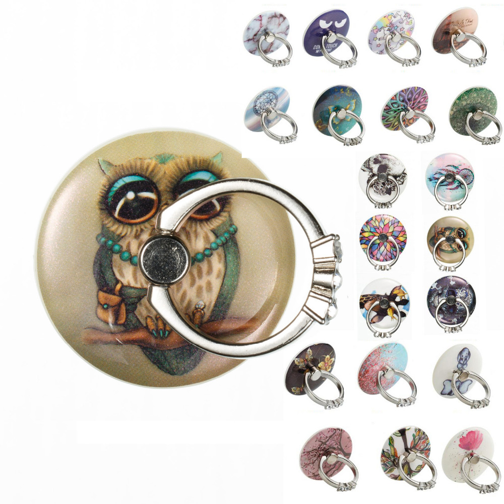 LUCKBUY 360 Rotation FLower Painted Metal Strong Sticky Ring Holder Phone Tablet Sticker Mount Stand Bracket for Huawei Apple LG