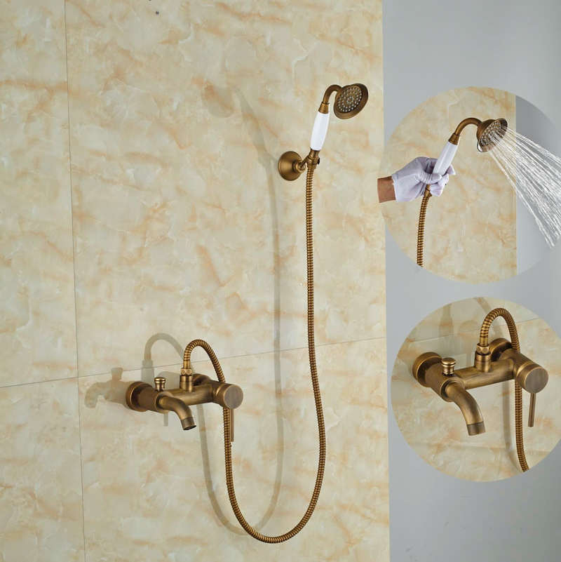 Luxury Wall Mounted Antique Brass Shower Set Bathroom Tub Tap With Hand Shower