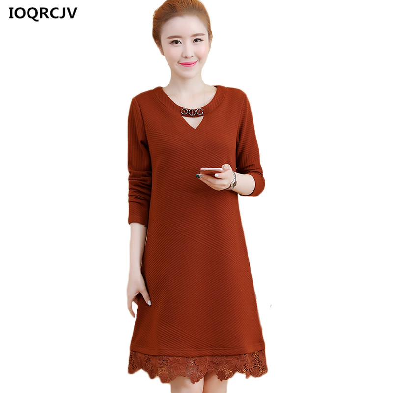 Increase  size Women's spring Dress 2018 New autumn loose cover belly bottoming dress was thin Round neck long female dress K871