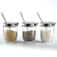 Glass Seasoning Bottles Kitchen Supplies Glass Seasoning Set with a Stand Spoon Seasoning Box Set