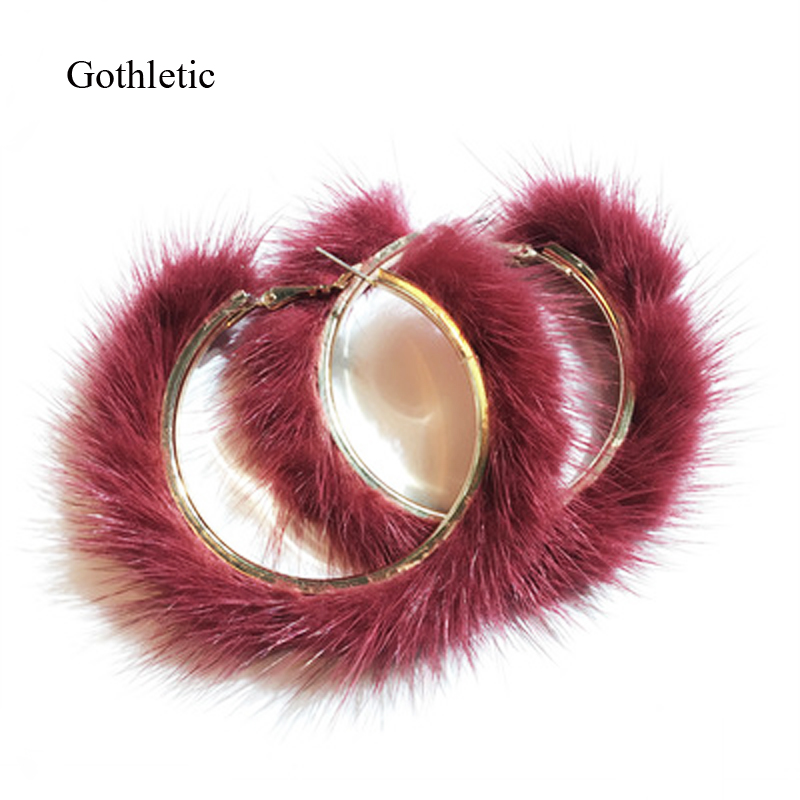 Gothletic Real Mink Fur Hoop Earrings 15 Colors 50MM/60MM/70MM Big Round Circle Earrings for Women Brincos Fashion Jewelry 2019