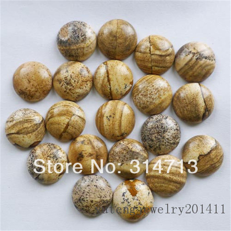20Pcs Beautiful Picture Stone Round CAB CABOCHON 16X5mm D0076346