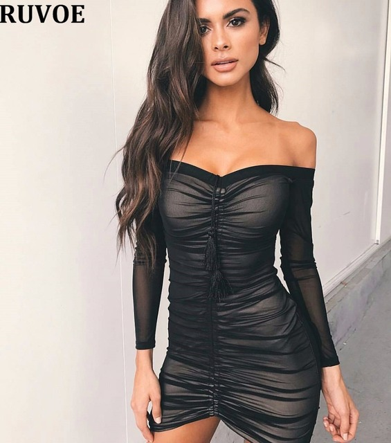 8beb109683c Kim Kardashian Party Dresses Slash Neck Sexy Black Mesh Dress Women Pleated  Draw String Bodycon Dress