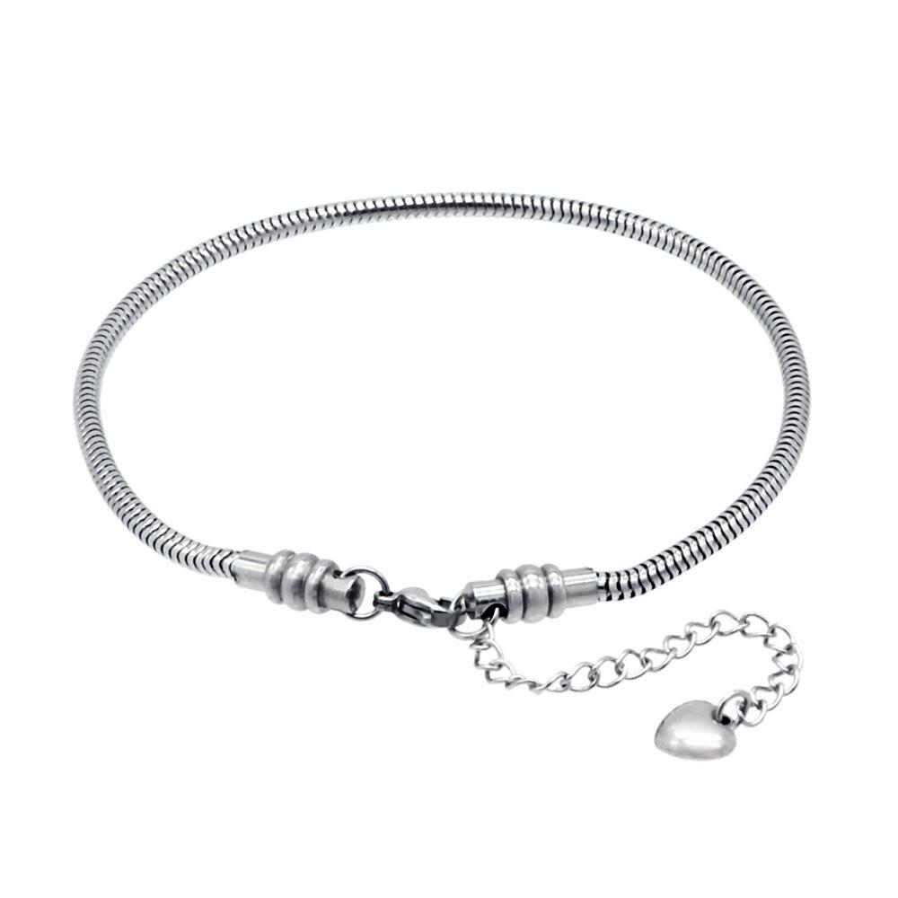 Stainless Steel Snake Chain Starter Charm Bracelet With Lobster Clasp Fit Beads For Women or Teen Girls Charm Bracelet