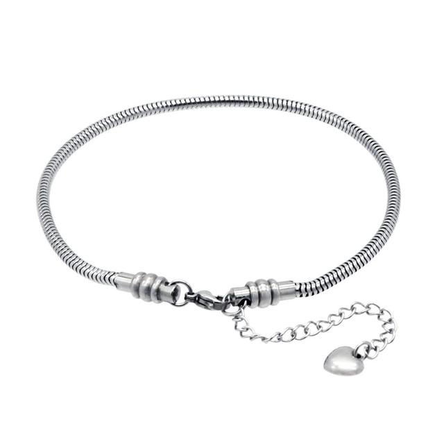 Stainless Steel Snake Chain Starter Charm Bracelet With Lobster Clasp Fit Beads For Women Or