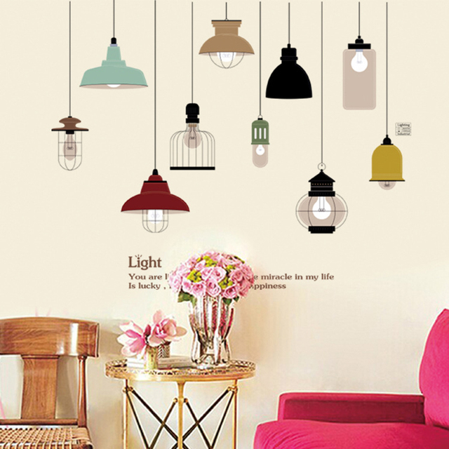 Korean Colorful Hand Painted Ceiling Lights Lamp Wall