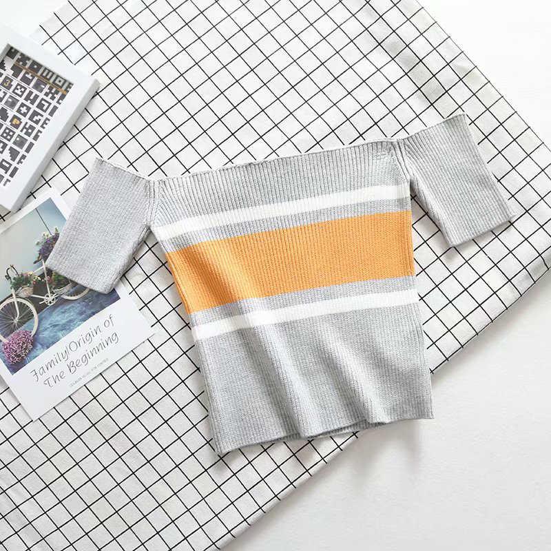 Femmes colorées Suumer Slash tricoté à manches courtes haut T-shirt Slim Skinny plage porter femmes d'été offre spéciale Top T-shirt