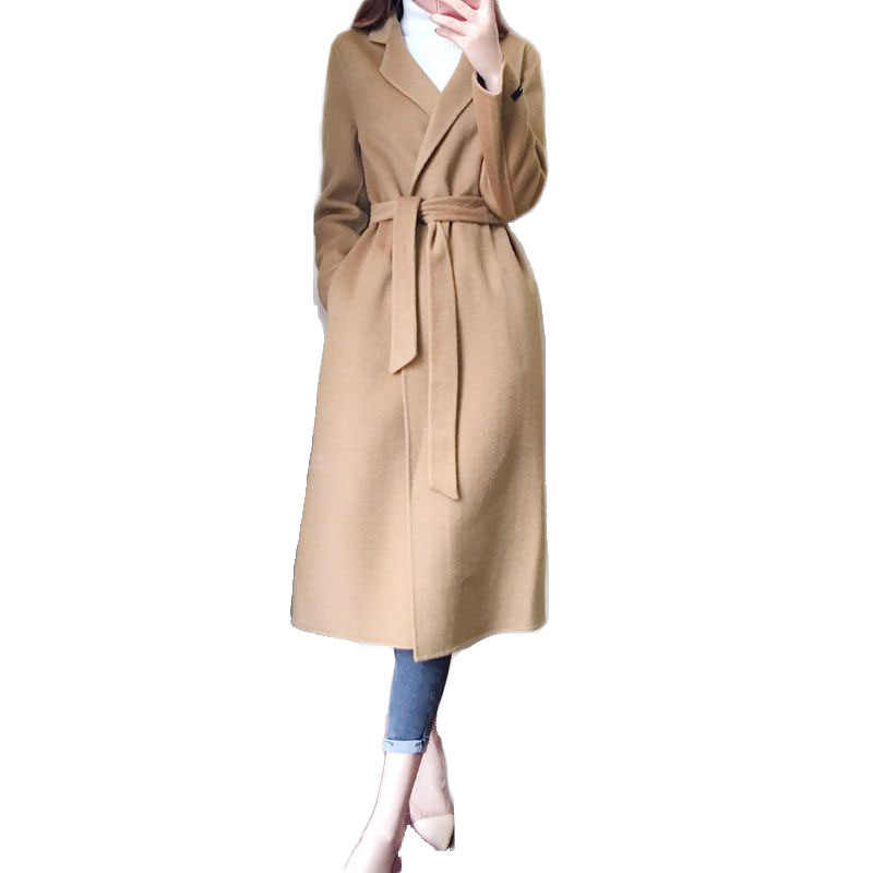2019 Spring Autumn Women Belt Wool Coats Female Long Woolen Windbreaker Office Lady Warm Jackets Overcoat Plus Size Trench M153