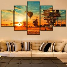One Set 5 Piece Steampunk House And Landscape Poster Modern Artwork Wall Home Decor Poster High Quality Canvas Print Painting(China)