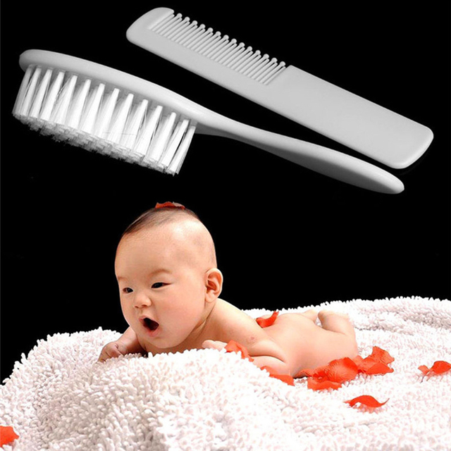 2 Pcs Soft Safety Baby Essential Basics Hair Brush Set Infant Comb Grooming Shower Design Pack Kit