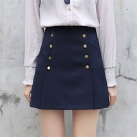 2017 Spriing New Arrivals Preppy Style A Line Skirt High Waist Slimming Khaki Navy Blue Mini