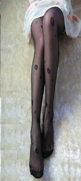Jeseca зима осень женские сексуальные колготки сердце леопардовые точки кружевные ажурные колготки женские Чулочные изделия высокие шелковые чулки - Цвет: Lip print