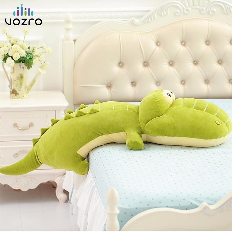 VOZRO Big Plush Green Sleeping Pad Thickening Neck Travel Pillow Crocodile Doll Adult Children Floor Coussin Almofadas Overwatch