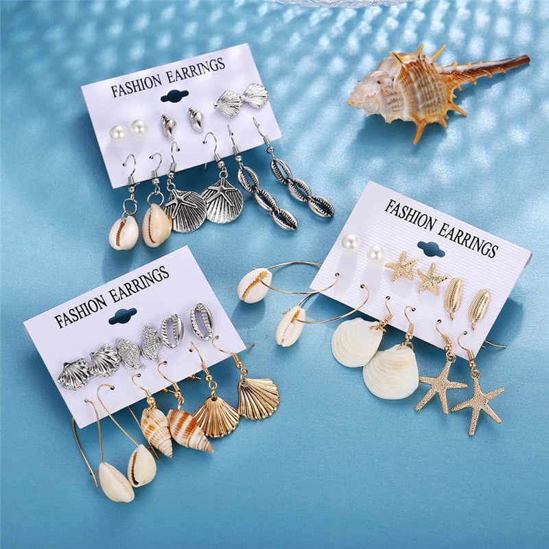 17KM Shell Earrings Set For Women 6 Pair/set Bohemian Flower Tassel Long Earring Stud Female Brincos 2019 Fashion Beach Jewelry