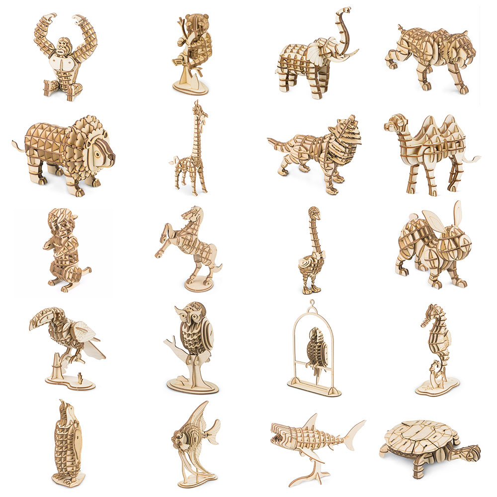 Robotime 3D Wooden Puzzle DIY Animal Assembly Model Wood Craft Kits Desk Decor Toys for Children Kids Drop Shipping Wholesale
