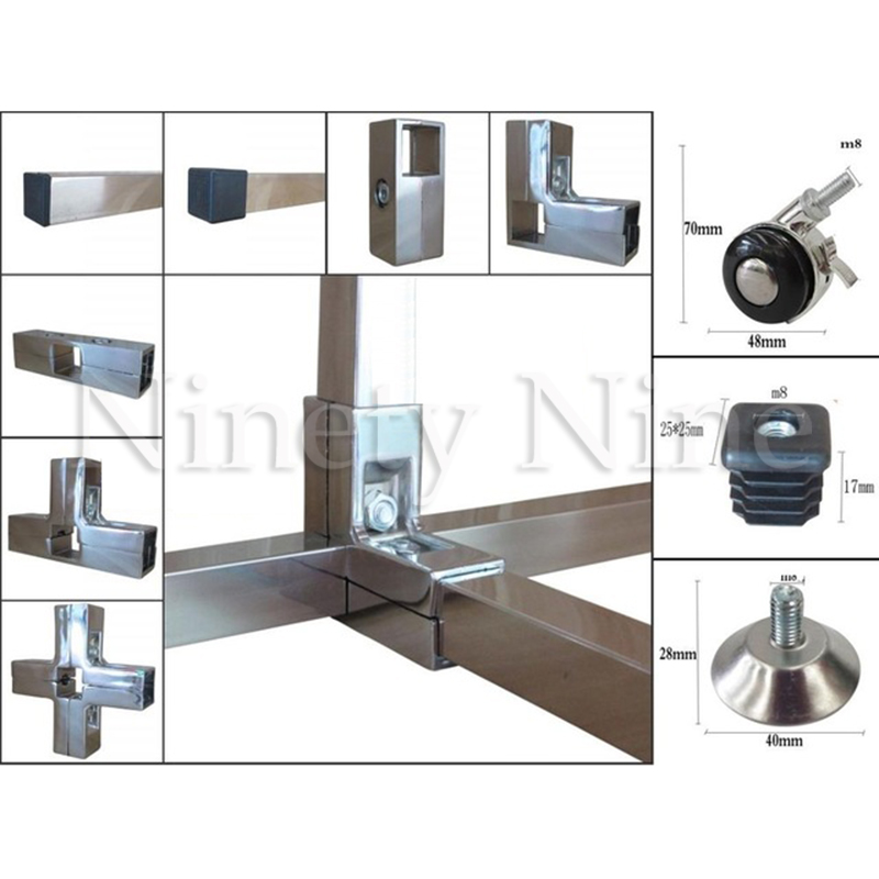 Aluminum 25x25mm Square Pipe Fittings Tube Clamp Holder Joint Connector Elbow Tee Clothes Shelf Joint Connector Displaying Stora