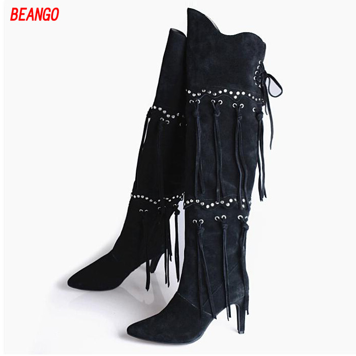BEANGO Autumn/ Winter New Fashion Nubuck Leather Tassel Over Knee High Boots Pointed Toe Rivert Designer Fringe Woman Long Boots fashion autumn and winter style flock leather women fringe flat heels long boots woman keep warm tassel knee high boots