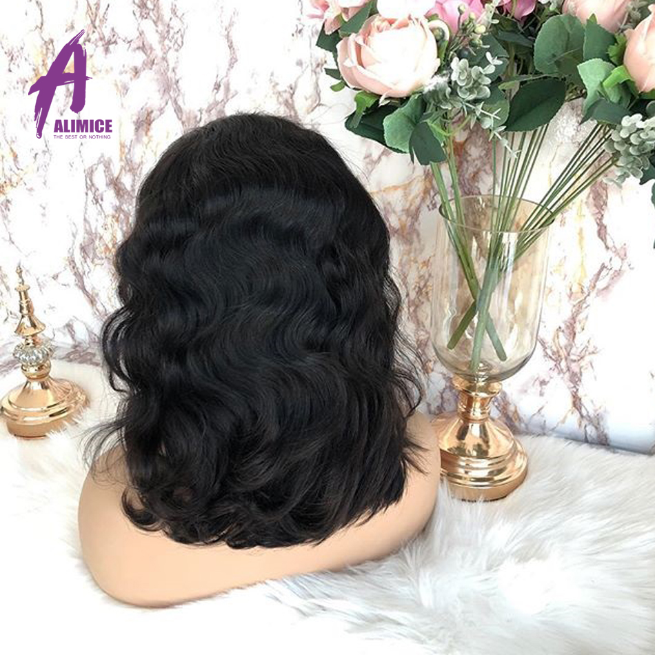 Alimice Malaysian Body Wave Lace Front Wigs with Baby Hair 13*4 Remy Human Hair Pre Plucked Hairline Glueless Short Bob Wigs - 4