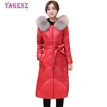 Winter women PU leather feather cotton jacket 2018 New High quality long warm cotton outerwear Hooded Plus size overcoat 5XLB103