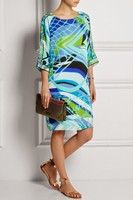 Couture autumn with Italian fashion fashion temperament in geometric printing sleeve round collar knitting slim dress