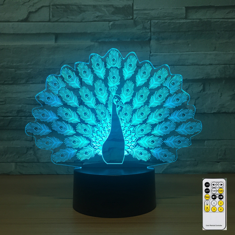Peacock Remote Control Colorful 3d Light Led Visual Stereo Touch Switch Night Light Party Decorate Baby's Room 3d Lamp Drop Ship
