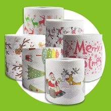 5 Colors Christmas Printing Paper Toilet Tissues Novelty Roll Toilet Paper Christmas decoration for Home Wholesale(China)