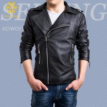 New Mens PU Leather Criss-cross Splice Small Suits Popular Black Zipper Jacket White Coat Motorcycle Jackets