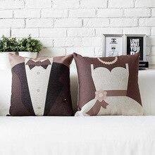 Давай поженимся! Любители свадебный подарок прекрасный простой хлопок подушка белье cushionss домой украшают диванные подушки
