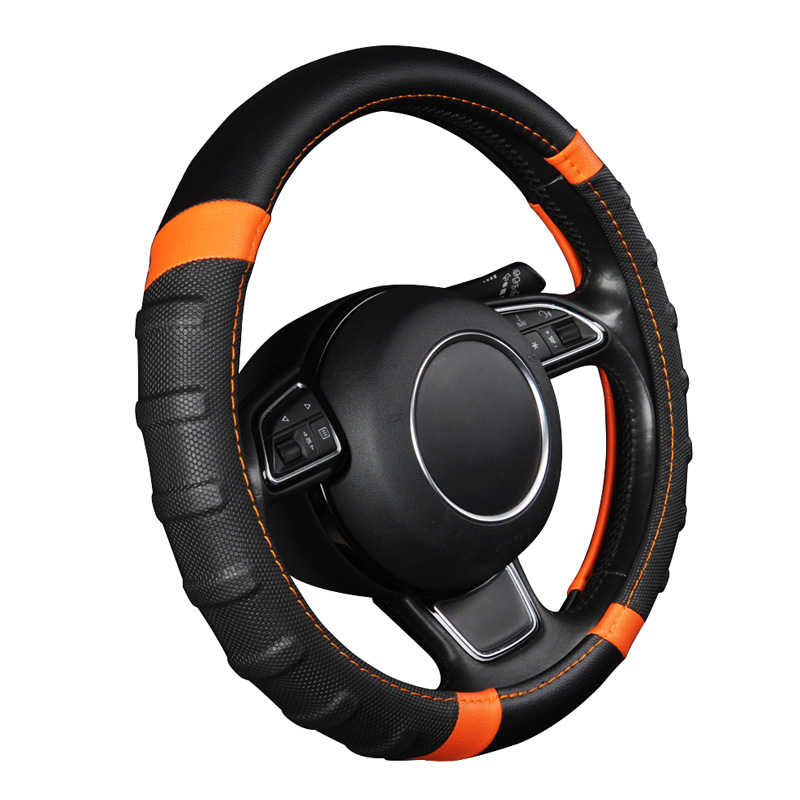 Leather Steering Wheel Cover 38cm/15 inch For Chevrolet epica lacetti lanos malibu xl niva optra orlando of 2010 2009 2008 2007