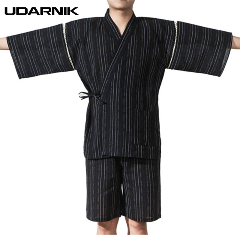 Men Japan Style Pyjama Sets Yukata Kimono Nightwear Half Sleeve V-neck Tops Shorts Striped Sleepwear Pajama Homme 226-117