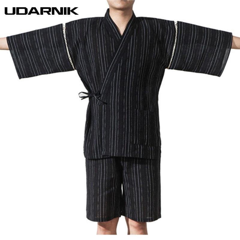 Men Japan Style Pyjama Sets Yukata Kimono Nightwear Half Sleeve V-neck Tops Shorts Striped Sleepwear Pajama Homme 226-117
